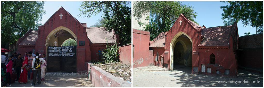 Entrance of Nicholson Cemetery. L: from outside, R: from inside