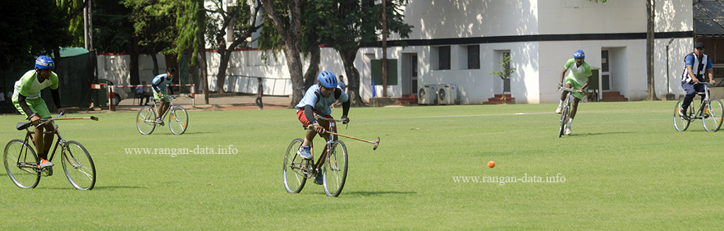Action from the All India Cycle Polo Invitation Cup, CC&FC, Kolkata