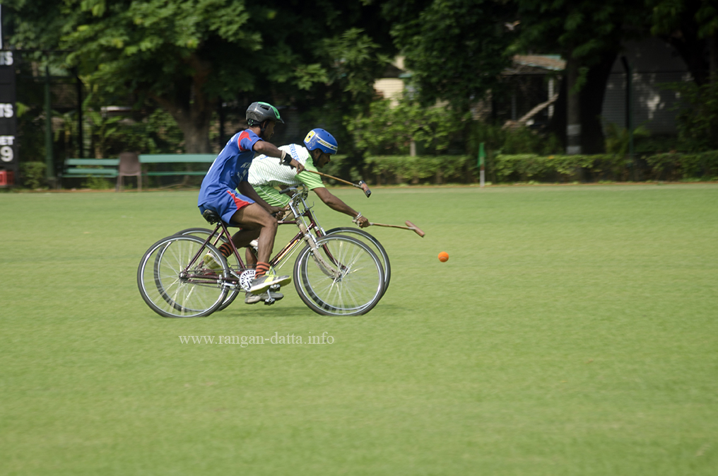 Fighting for the ball, Cycle Polo, CC&FC, Kolkata