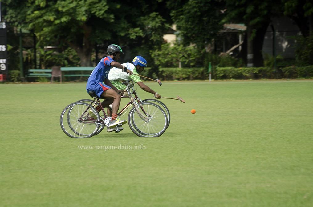 Fighting for the ball, Cycle Polo, CC&FC, Kolkata