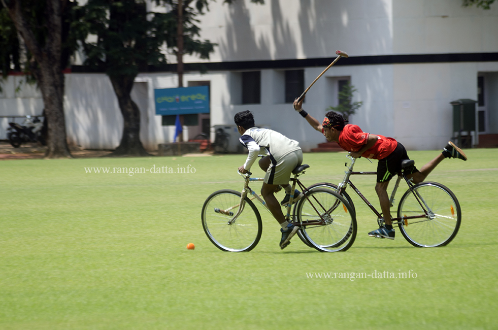 A desperate tackle attempt, Cycle Polo, CC&FC, Kolkata