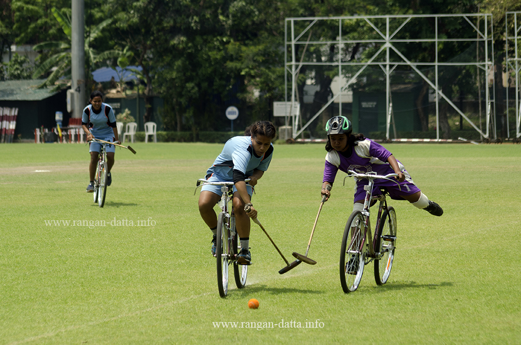 Girls fight for the ball, Cycle Polo, CC&FC, Kolkata