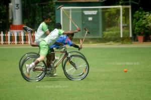 Desperate bid for the ball, Cycle Polo
