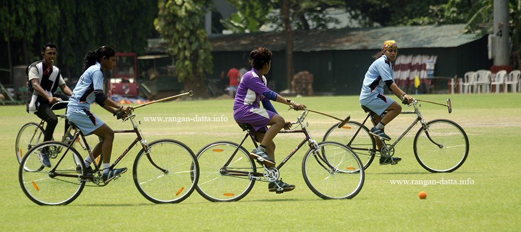 Action from a girl's Cycle Polo match, CC&FC, Kolkata