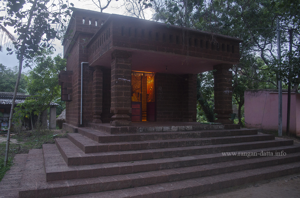 A stone structure housing the stone statues, Kuruma, near Konark, Odisha