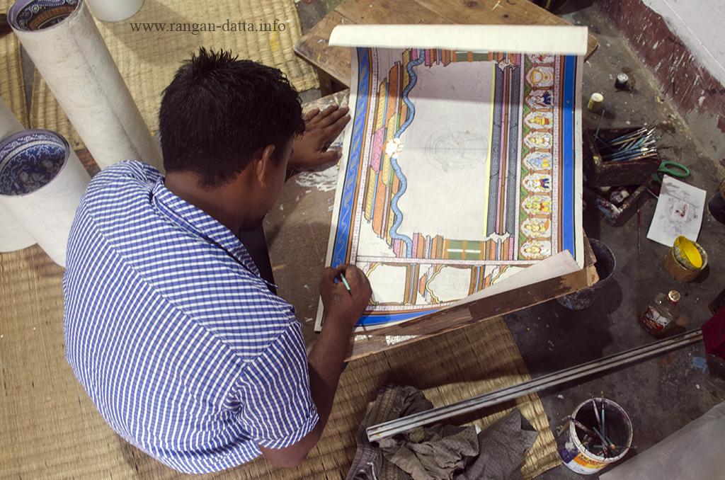 An artist at work in Raghurajpur, near Puri, Odisha