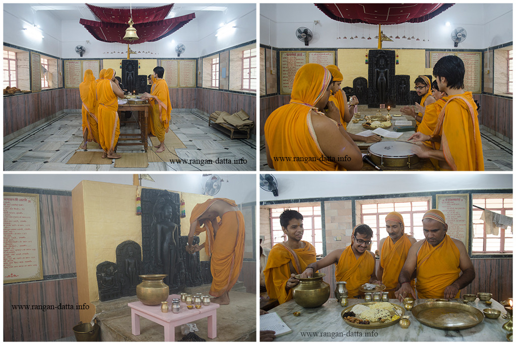 Jain Devotes perform rituals at the Jain Temple in Mahadeb Berya (Jambad), Purulia District