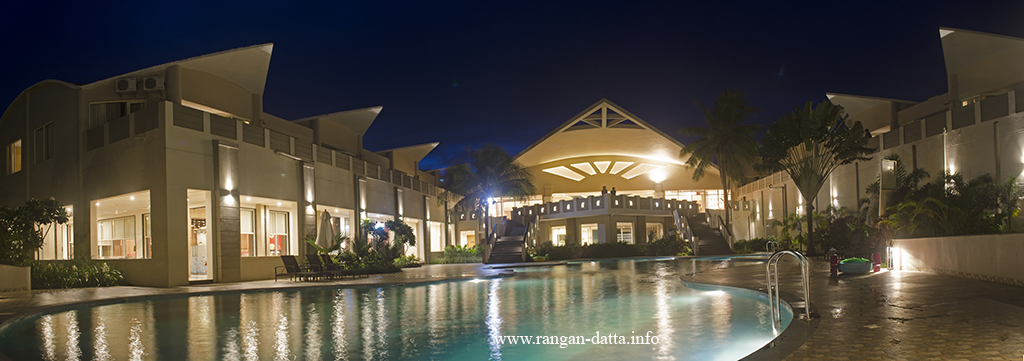 A panoramic view of the Sterling Resort Puri at night