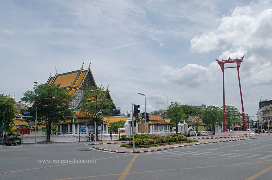Wat Suthat (left) and Giant Swing (right), Bangkok