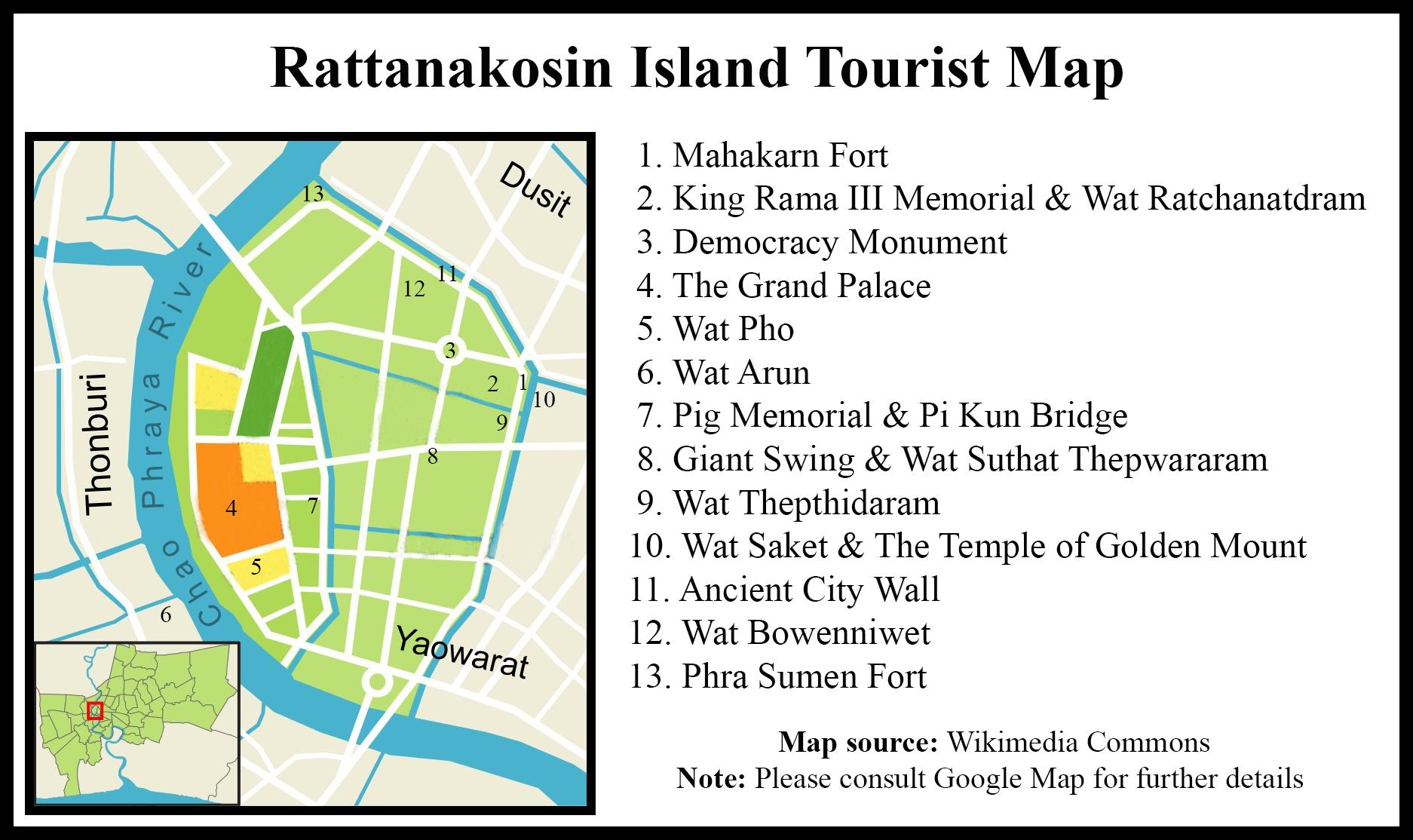 Map of Rattanakosin Island, Bangkok (click to enlarge)