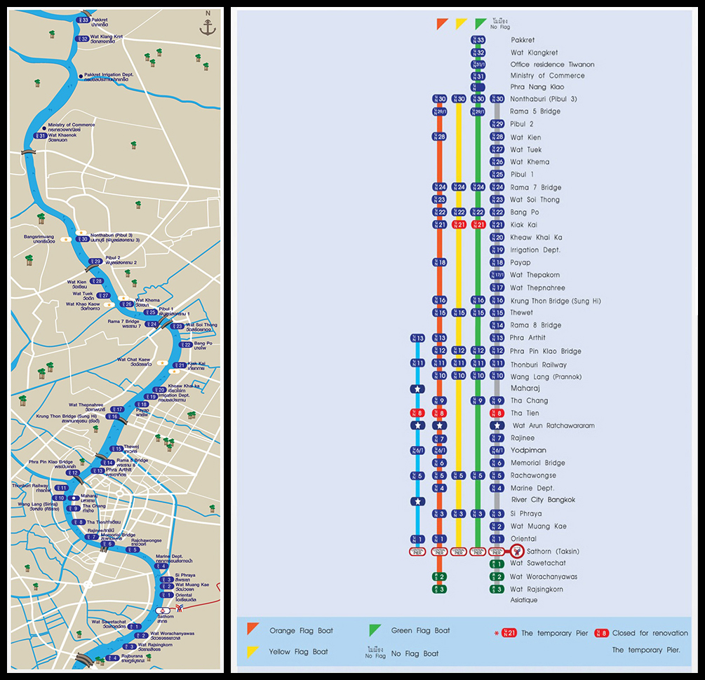 Chao Phraya Express Boat, map and route (Source: www.chaophrayaexpressboat.com) (Click to enlarge)