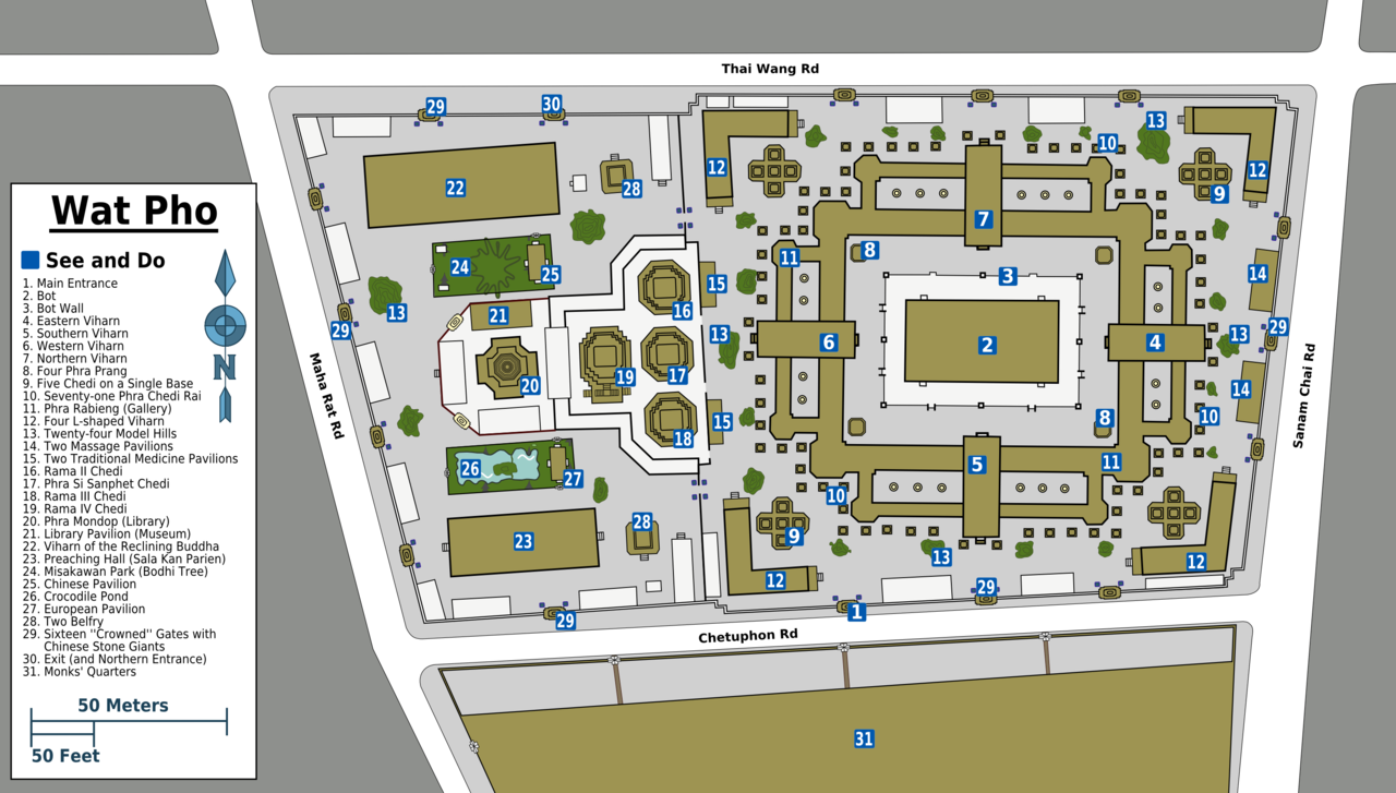 Map of Wat Pho (click to enlarge)