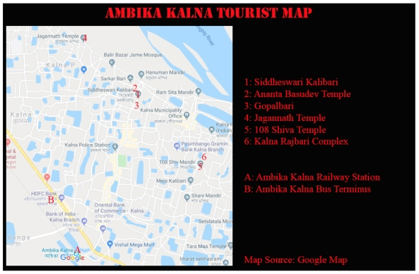 Tourist Map of Ambika Kalna