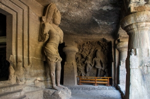 Inside the main hall of Cave 1, Elephanta Caves