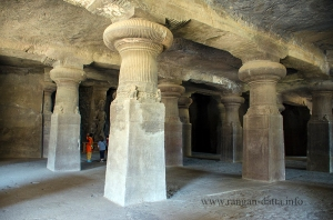 Gigantic pillars of Cave 1, Elephanta Cave