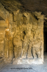 Dvarapalas (gate guardians) of east wing shrine, Elephanta Caves