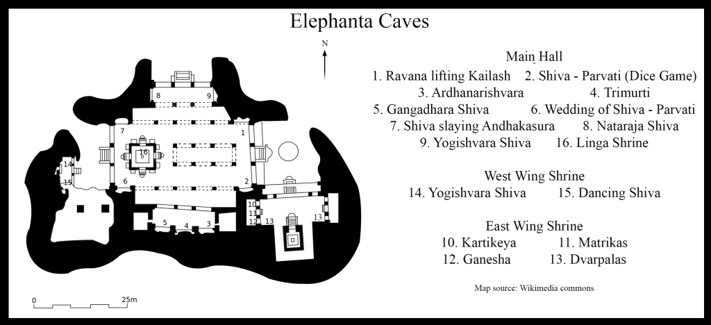 Map of Cave 1, Elephanta Caves (Source: Wikimedia Commons) (Click to enlarge)