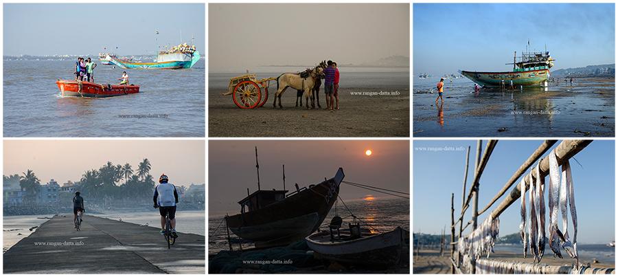 Clockwise from top left: Fishing boats at Dongri, Chariots at Gorai, Fishing trawler at Pali, Dried fish at Pali, Sunrise at Dongri and cyclist at Gorai