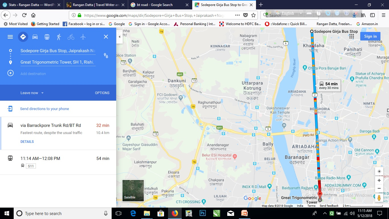 Present day google map showing the Calcutta Longitude base line