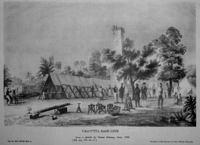 James Prinsep's sketch of measurement of base line of Calcutta longitude, 1831