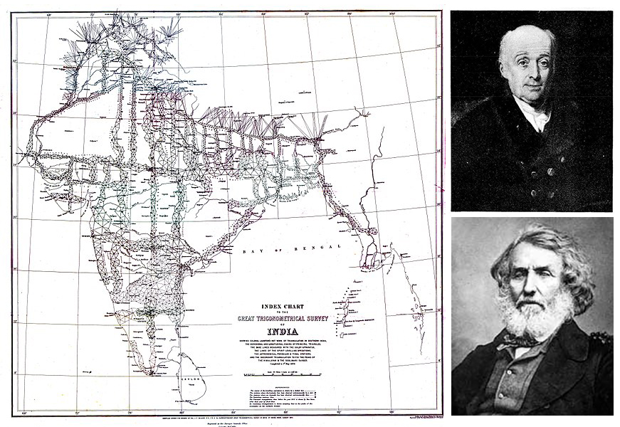 Index Chart of Great Trigonometrical Survey of India (1870), Top right: William Lambton, Bottom Left: George Everest