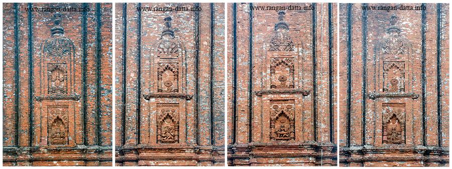 Collage of decorative brick ornamentation on Ichai Ghosher Deul