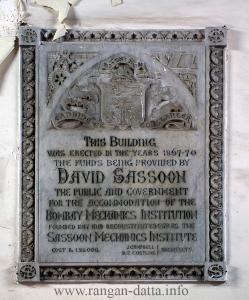 Plaque at David Sassoon Library
