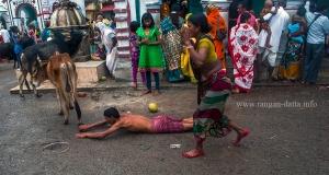 Devotees perform dandi ritual at Chandaneshwar Temple
